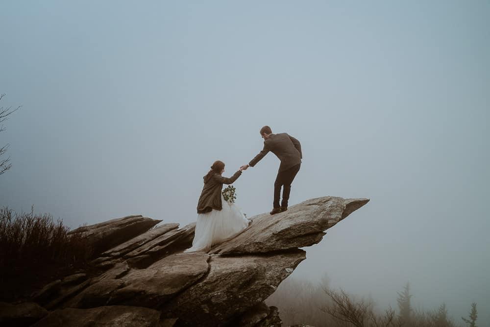 Foggy Appalachian Mountain elopement at Rough Ridge's iconic view