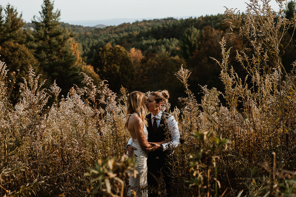 Same sex couple's Appalachian mountain elopement at Moses Cone
